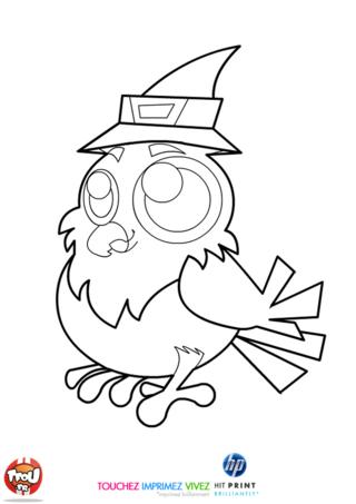 Coloriage: Hibou avec son chapeau