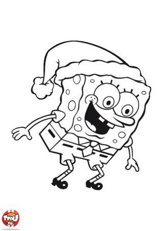 Coloriage: Bob l'éponge porte un bonnet