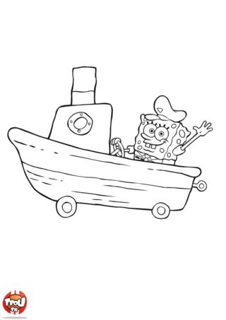 Coloriage: Bob l'éponge voiture bateau