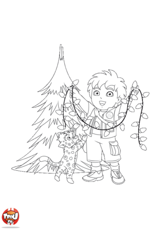 Coloriage: Diego et la guirlande de Noël
