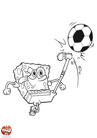 Coloriage: Bob l'éponge joue au foot