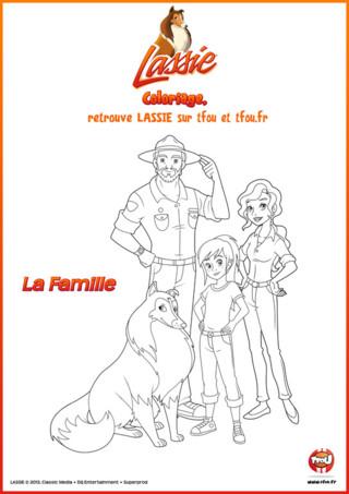 Découvre vite la superbe famille de Lassie composée de 3 personnes à travers ce beau coloriage à imprimer gratuitement pour enfant. Tu retrouveras dans ce coloriage Zoé mais aussi Sarah sa maman qui est vétérinaire ainsi que Graham, son papa le ranger. Les métiers des parents de Zoé leur permettent d'avoir une efficacité directe pour agir sur le terrain et ils sont toujours présents dans les grandes actions avec Lassie. Imprime ce super coloriage gratuit, spécial Lassie, dès maintenant sur TFou.fr