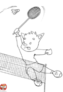 Renard fait un smash au badminton