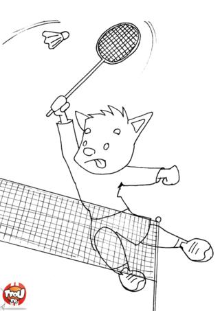 Coloriage: Renard fait un smash au badminton