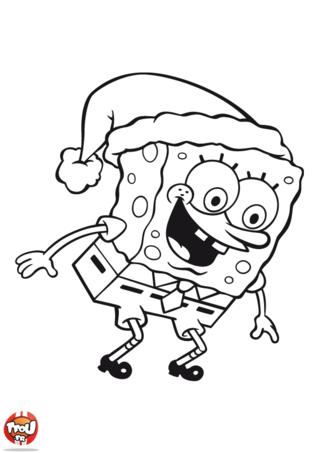 Coloriage: Bob l'éponge et son chapeau de Noël