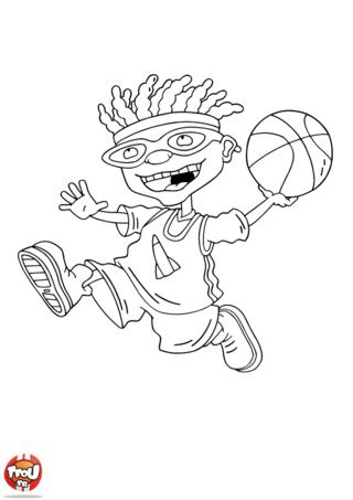 Coloriage: Otto joue au basket