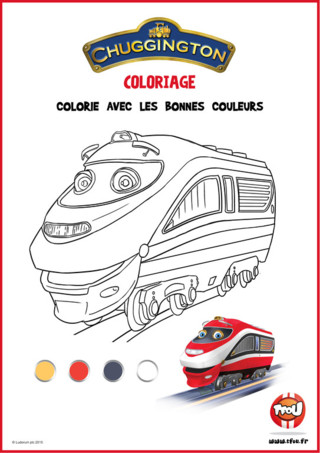 Téléchargez gratuitement cette super activité coloriage de Chuggington Aide toi du dessin de la locomotive déjà colorié pour retrouver toutes les bonnes couleurs ! C'est facile! Retrouve d'autres activités et coloriages de Chuggington sur TFou.fr