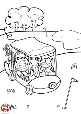 Coloriage: Promenade sur le green de golf