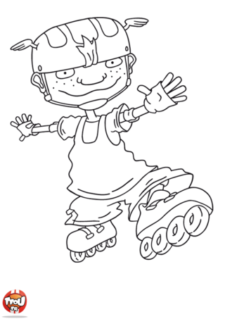 Coloriage: Twister pose en roller