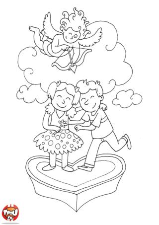 Le petit ange est prêt à envoyer la flêche de l'amour pour la Saint Valentin. Imprime gratuitement ce coloriage et offre le à celui ou celle que tu aimes.