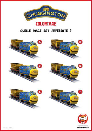Bruno la locomotive sage bleue et jaune a été copiée 6 fois. Malheureusement, une erreur s'est glissée dans l'une de ces copies. Sauras-tu retrouver quelle image de Bruno est différente ? Si tu as aimé cette activité de Chuggington n'hésite pas à aller sur TFou.fr pour en télécharger plein d'autres gratuitement !