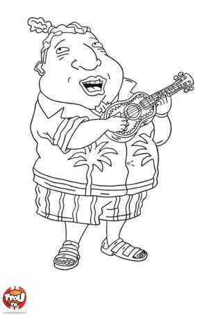 Coloriage: Tito joue de la guitare