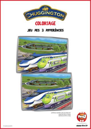 Télécharge gratuitement ce jeu des 3 différences de Chuggington sur TFou.fr ! Nos deux locomotives bleue et verte de Chuggington roulent tranquillement à travers la campagne, mais 3 différences se sont cachées dans la seconde image. Sauras-tu les retrouver?