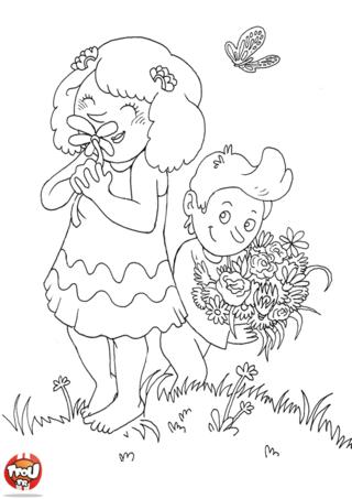 Aimes-tu les fleurs ? C'est un superbe cadeau pour fêter la Saint Valentin. On offre générallement un joli bouquet de roses rouge. Imprime vite ce coloriage Saint Valentin.