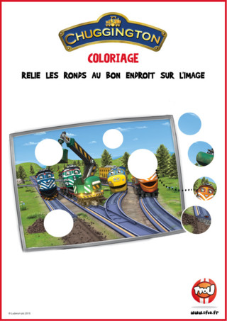 Télécharge gratuitement ce puzzle de Chuggington et relie les ronds au bon endroit sur l'image ! Les locomotives de Chuggington profitent d'une belle après-midi ensoleillée pour réparer le chemin de fer. Aide les à remettre les ronds au bon endroit sur l'image. Retrouve plein d'activités pour les enfants sur tes héros préférés sur TFou.fr !