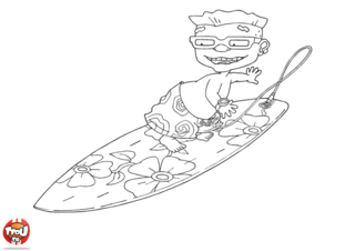 Coloriage: Sam surf