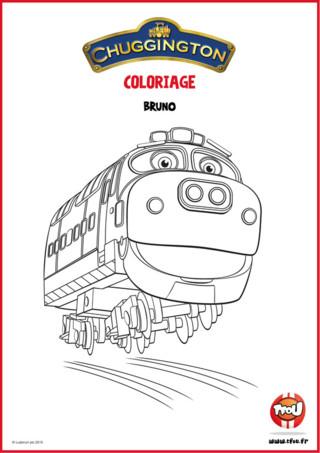 Téléchargez gratuitement ce coloriage Bruno ta locomotive préférée de Chuggigton ! En route pour l'aventure avec Bruno la locomotive de Chuggington ! Colorie avec les couleurs de ton choix Bruno la locomotive, et retrouve d'autres coloriages de Chuggington sur TFou.fr !