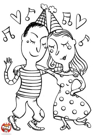 Plus rien n'existe autour d'eux ! Les amoureux dansent pour fêter la Saint Valentin. Imprime gratuitement les coloriages Saint Valentin sur TFou.fr et colorie-les.