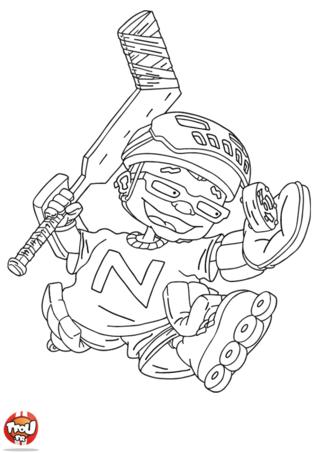 Coloriage: Sam fait du hockey