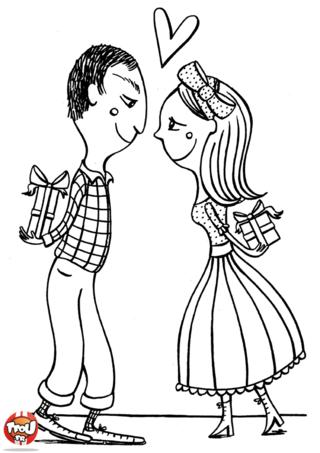 Que caches-tu derrière ton dos comme cadeaux pour la Saint Valentin ? Les amoureux sont impatients de voir la surprise que leur amoureux leur a réservée. Imprime vite ce coloriage Saint Valentin.
