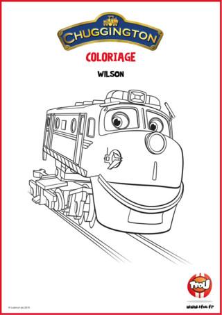 Téléchargez gratuitement ce coloriage Wilson ta locomotive préférée de Chuggigton ! En route pour l'aventure avec Wilson la locomotive de Chuggington ! Colorie avec les couleurs de ton choix Wilson la locomotive, et retrouve d'autres coloriages de Chuggington sur TFou.fr !
