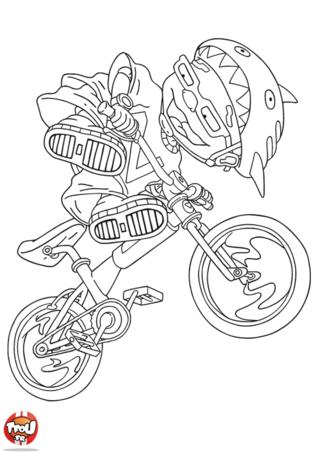 Coloriage: Sam fait une figure avec son vélo