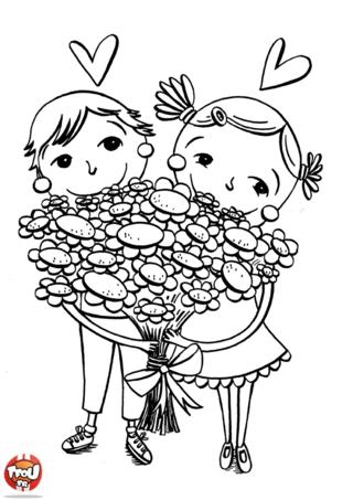Ces deux petits enfants adorent leur grand-mère et pour lui prouver leur amour, ils lui offrent ce beau bouquet de fleurs. Toi aussi, souhaite une bonne fête à ta mamie.