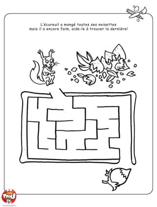 Coloriage: Labyrinthe écureuil