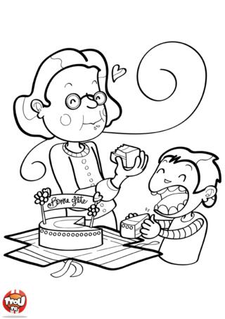 Pour fêter la fête à ta grand-mère, rien de mieux que de partager un moment avec ta mamie en mangeant du gâteau. Imprime et colorie ce coloriage fête des grand-mères sur TFou.