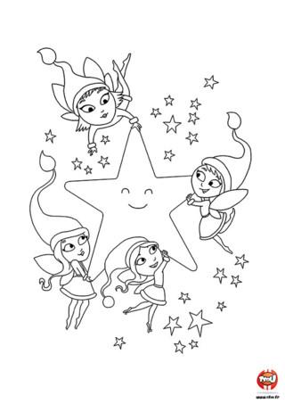 Coloriage : Regarde, les fées de Noël dansent et chantent avec l'étoile pour fêter l'arrivée de Noël. Imprime et colorie vite ce dessin féérique.