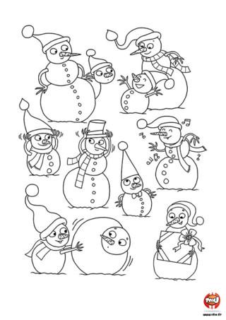 Coloriage : Les bonhommes de neige font les fous en attendant Noël. Regarde comme ils s'amusent bien. Ils ont hâte de découvrir leurs cadeaux de Noël.