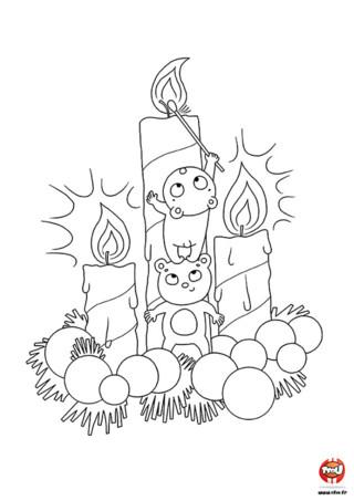 Coloriage : Noël est une fête magique avec toutes ses jolies lumières. Les souris préparent la décoration en allumant des bougies. Imprime ce joli coloriage.