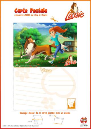 Coloriage Lassie : imprime cette carte postale de Lassie et sa maîtresse Zoé sur TFou.fr !