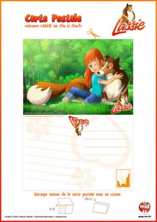 Imprime vite ce coloriage gratuit pour enfant sur TFou.fr ! Découvre cette super carte postale de Lassie et sa maîtresse Zoé à envoyer à tes amis ou ta famille.