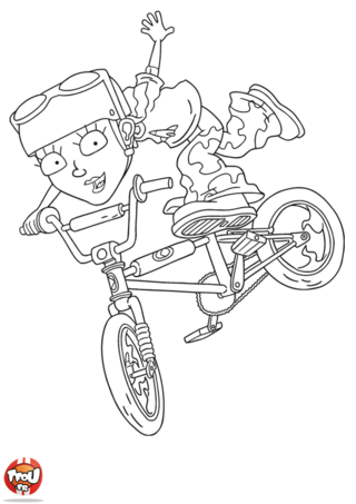 Coloriage: Reggie fait une figure en vélo