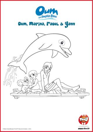 Prêt pour une activité coloriage? Dans un coin de paradis de la Polynésie, Yann et Marina vivent des aventures trépidantes avec leur ami Oum le Dauphin Blanc. Le sais-tu? En imprimant gratuitement ce coloriage de tes héros TFou tu pourras gagner plein de Tfizz ainsi qu'un badge Oum le Dauphin Blanc!