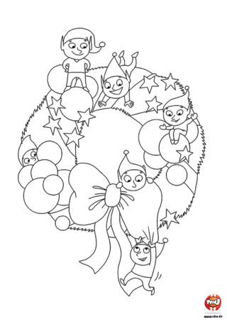 Coloriage : Pour que la fête de Noël soit réussie, décore ta maison avec une jolie couronne. Les lutins te présentent leur jolie couronne de Noël sur TFou.fr.