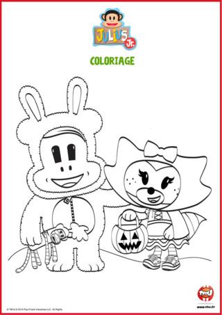 Coloriage Tit'Ours et Chouquette Halloween