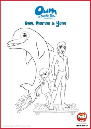 Prêt pour une activité coloriage? Oum, Yann et Marina vivent en Polynésie et sont des amis inséparables. Le sais-tu? En imprimant gratuitement ce coloriage de tes héros TFou tu pourras gagner plein de Tfizz ainsi qu'un badge Oum le Dauphin Blanc!