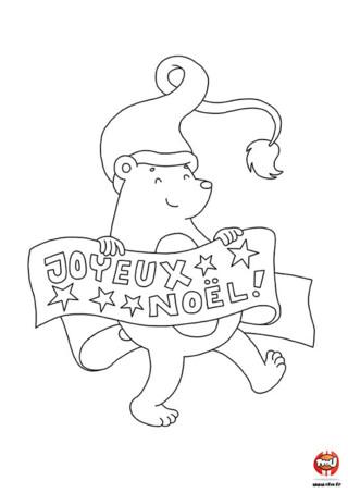 Coloriage : L'ours adore préparer et fêter Noël. Il a préparé une guirlande avec écrit Joyeux Noël. Imprime vite ce coloriage sur TFou.fr.