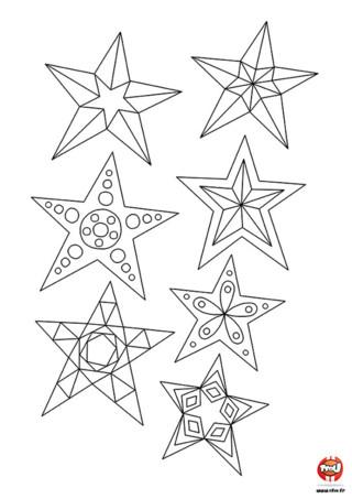 Coloriage : Imprime sur TFou.fr, colorie de plein de couleurs et découpe les jolies étoiles de Noël pour décorer ta table de Noël. Vite à tes crayons !