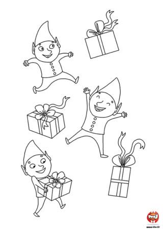 Coloriage : Tous les lutins du Père Noël sont très impatients d'être à Noël. Ils dansent tous de joie avec les cadeaux de Noël. Imprime et colorie ce joli dessin.