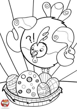 Coloriage : cette poule à l'air d'aimer le chocolat ! C'est vrai que ces oeufs de Pâques dans ce panier ont l'air appétissant. Imprime et colorie vite ce coloriage de Pâques. Tu pourras partager les oeufs de pâques avec elle. En plus, en imprimant tes coloriages tu gagnes plein de points à dépenser sur TFou.fr. Alors n'hésite plus ! Rejoins le monde des coloriages. TFou te souhaite de Joyeuses Pâques !
