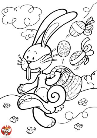 Coloriage : ce lapin court vite ! Tu as deviné ? C'est Pâques ! Cours-vite avec lui ! Imprime ce coloriage et pars à chasse aux chocolats de Pâques. Tu auras un panier de chocolats aussi bien rempli que lui. Tu pourras devenir son ami et partager tes chocolats avec lui. TFou te fait gagner des points lorsque tu imprimes des coloriages. Alors n'attends plus. Imprime gratuitement des coloriages sur Tfou.fr